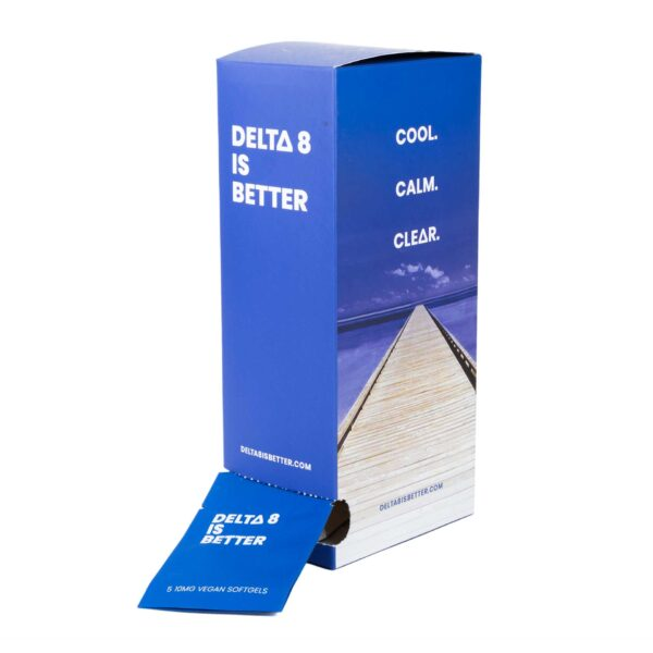 DELTA 8 IS BETTER uses 100% hemp-derived Delta-8 THC to make a better vegan softgel that promotes happy, motivated, uplifting feelings. Effects are noticeably different than Delta-9 THC. Each dispenser contains 30 2-pill packets. Each packet contains 20mg total Delta-8 THC along with other stimulating ingredients. Delta-8 can be intoxicating to some people. Do not drive or operate heavy machinery while using this product.